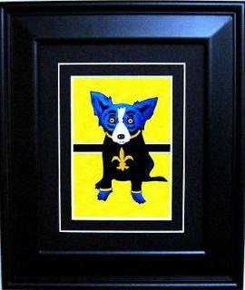 FRAMED GEORGE RODRIGUE BLUE DOG SAINTS POSTCARD   11.5 x 13.5
