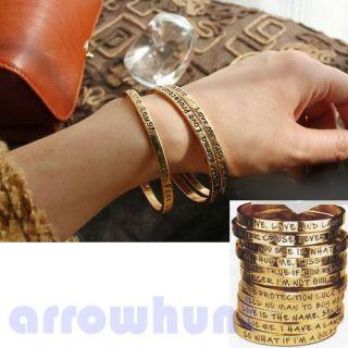 Letters Love Kiss Free Print Pray Charm Wish Gold Bracelet Bangle