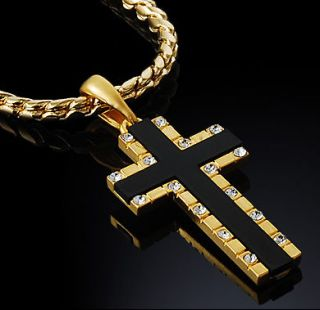 Gold Nano Injection Plated Mens Onyx Cross Pendant Chain Necklace #24