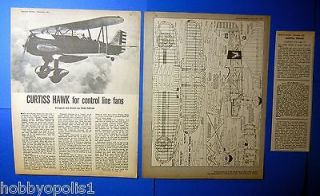 Hawk C/L Control Line Biplane Airplane Plan with Build Article 1957
