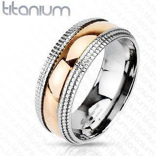 Solid Titanium rose gold plated center beveled machined edge Band Ring