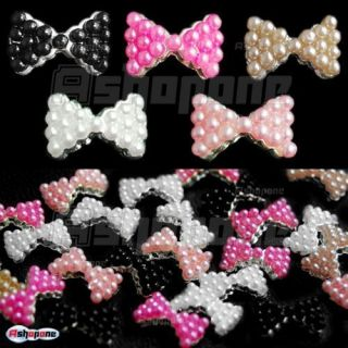 Alloy Pearl Bow Tie Bowtie Nail Art Glitters Stickers DIY Decorations