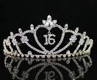16 RHIESTONE TIARA CROWN WITH COMBS PARTY JEWELRY T538 GOLD TONE