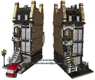 Modular Instructions Custom House Street Light Building Set Town