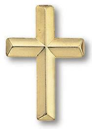 Cross Lapel Pin On A Card Gold Plated with Squeeze Pin Back 1/2 x 7/8