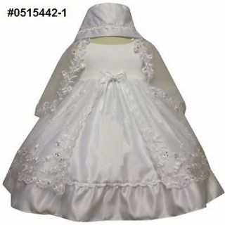 NEW Baby Girl White Christening Baptism Wedding Party Dress/Gown/Sz 0