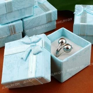 Lot 15 Blue Paper Jewelry Ring Gift Box Case 4x4x2.6cm FASHION