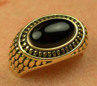 genuine BLACK ONYX ROMAN DESIGN mens ring 18K yellow GOLD overlay size