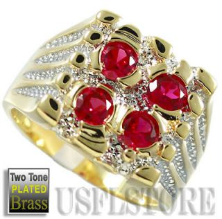 Four Ruby Red Stone Gold Plated Two Tone Mens Ring