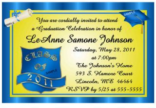 BLUE & GOLD GRADUATION ANNOUNCEMENTS INVITATIONS