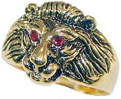 Mens Lion Head Red Eye 18kt Gold Plated Ring New