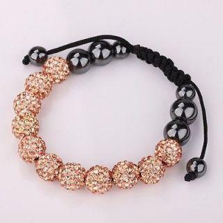 10MM gold Czech crystal shamballa friendship bracelets+gift box V925