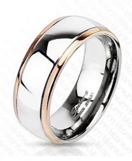 Solid Titanium Rose Gold Plated Edged Dome Band Ring Size 6 7 8 9 10