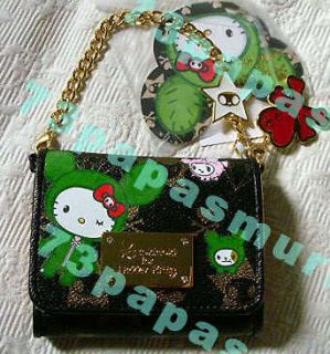 Tokidoki HELLO KITTY BLACK WALLET NWT Leather+Heart Charm GOLD CHAIN