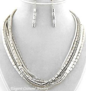 Layered Silver Chunky Snake & Link Chain Necklace Set Elegant Costume