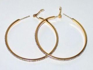 LANE BRYANT LARGE HOOP EARRINGS 10k GOLD PLATE WITH LAB DIAMONDS