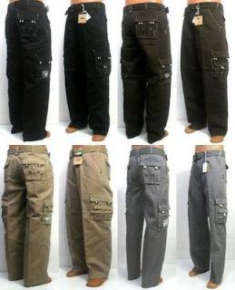 PJ MARK cargo black / brown / tan / grey pants with belt style 41059