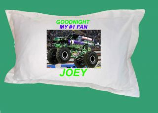 GRAVE DIGGER MONSTER TRUCK PERSONALIZED PILLOW CASE CUSTOM KIDS NAME