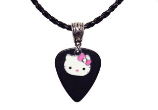 GUITAR PICK Enamel HELLO KITTY Charm Pink Bow Pendant & Necklace
