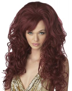Womens Sexy Burgendy Red Long Curly Bombshell Wig Halloween Costume