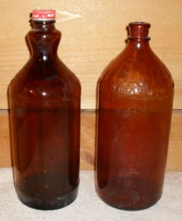 ANTIQUE BROWN GLASS CLOROX BOTTLES 1930S AND OLDER