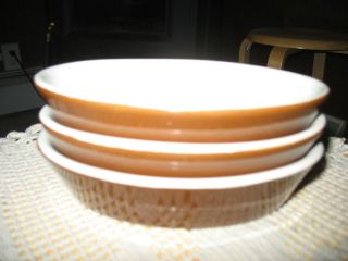HALL CHINA DISHES. BROWN WITH WHITE INSIDES. OVAL. 6 X 4.25 X 1