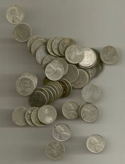1943 P Lincoln Penny Roll of 50 coins, Price on these steel pennies