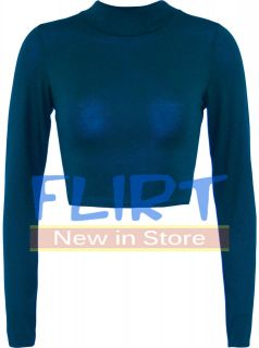 Top Ladies Polo Turtle Neck Long Sleeve Cropped T Shirt Jersey Tops