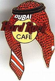 Hard Rock Cafe DUBAI 2001 HEAD SCARF Ghutra w/Agal PIN HRC Logo