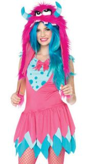 Teen Tween Junior Girls Pink Blue Cute Monster Halloween Costume