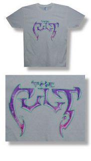New The Cult Classic Purple Logo Large Beige Lightweight T shirt