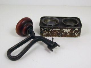 Antique Vtg Gas Engine Valve Grinder Hand Crank & Carborundum Grinding