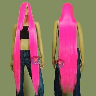 50 inch Heat Styable Wigs w 22 inch Extra long Bang Hot Pink Cosplay