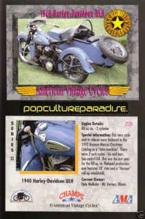 1940 HARLEY DAVIDSON ULH Bike Vintage Motorcycle CARD