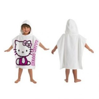 HELLO KITTY BOWS GRAPHIC PONCHO HOODED TOWEL VELOUR NEW GIFT
