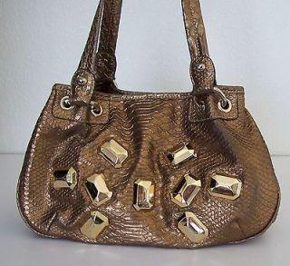 Kathy Van Zeeland Bronze Copper Metallic Croc / Croco Purse Handbag