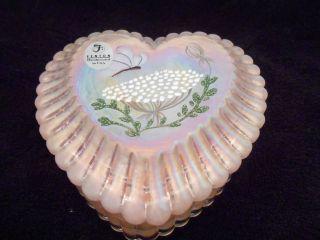 FENTON GLASS HEART BUTTERFLY TRINKET BOX PINK IRRIDIZED