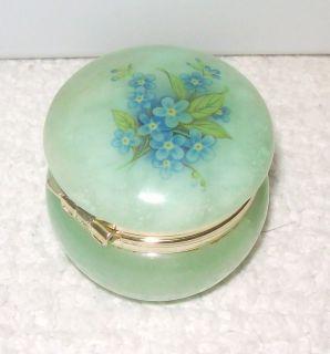 Genuine Alabaster Sm Trinket Holder Box Jade Color Blue Flowers Italy