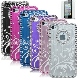 Bling Crystal Chrome Hard Case Cover For iPhone 4 4S Protector
