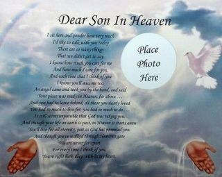 DEAR SON IN HEAVEN MEMORIAL POEM GIFT LOSS OF A BELOVED SON
