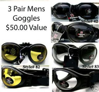 THREE pair foam lined Motorcyle GOGGLES FREE harley davidson decal