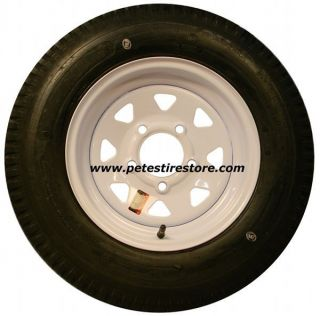 Towmaster Trailer Tire and White Spoke Wheel 5.30x12 (5 Lug) (6 Ply