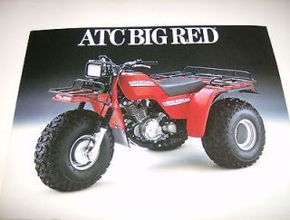 ORIGINAL 1986 HONDA ATC 250 BIG RED SALES BROCHURE 4 PAGES 3 WHEELER