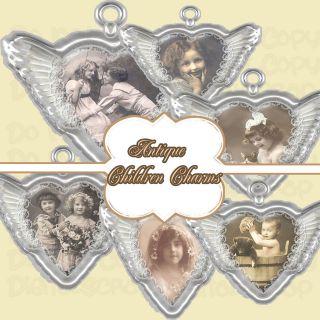 Vintage Angel Wing Children Charms Antique Clipart Digital