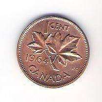 1964 Canada Canadian Penny One 1 Cent Coin