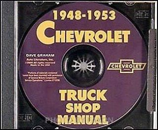 Chevy Pickup and Truck Shop Manual CD 1948 1949 1950 1951 1952 1953