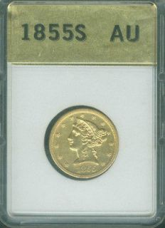 1855 S FIVE DOLLAR LIBERTY GOLD NO MOTTO ALMOST UNCIRCULATED AU