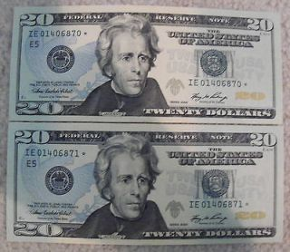 STAR NOTE SEQUENTIAL CONSECUTIVE SERIAL NUMBER 20 DOLLAR BILL LOT