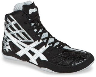 Mens Asics Split Second 9 Wrestling Shoe Black/White/Silver