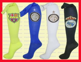 Soccer Socks: BARCELONA, INTER MILAN, REAL MADRID. Excellent Quality.